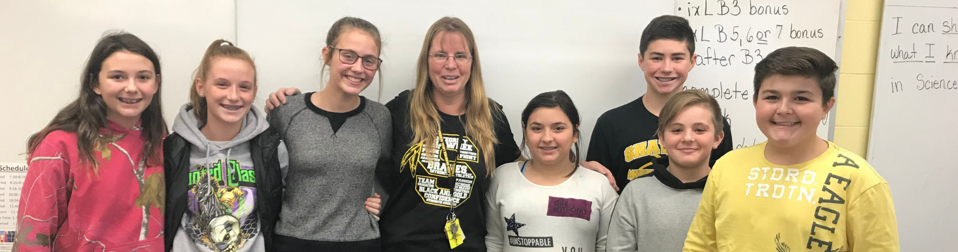 Shawnee Middle School Science Teacher Mrs. Calland with her students.