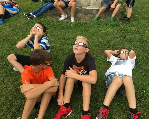 Students observing the eclipse