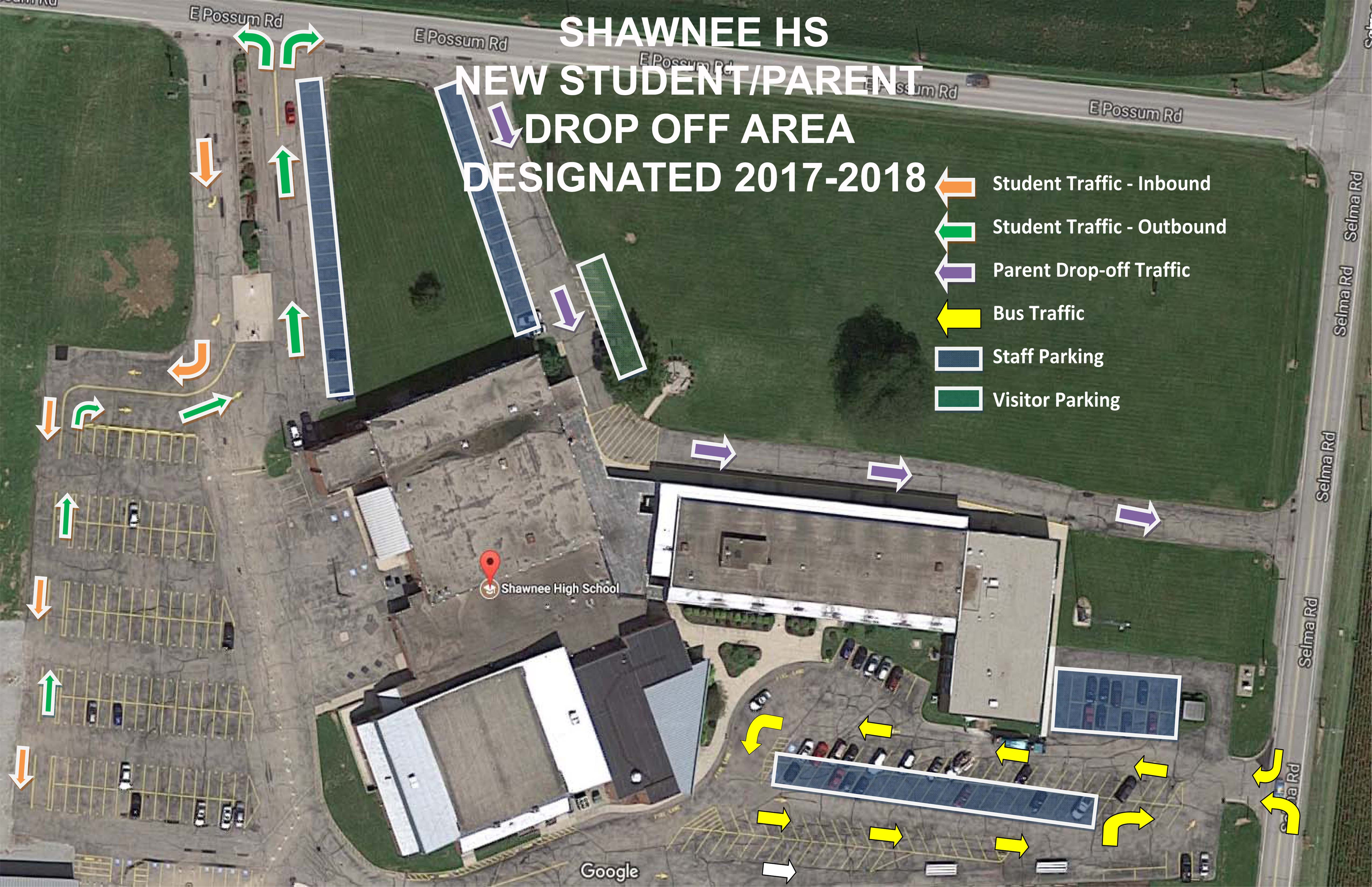A new traffic flow has been planned for Shawnee Middle/High School based on safety recommendations from the county transportation department.